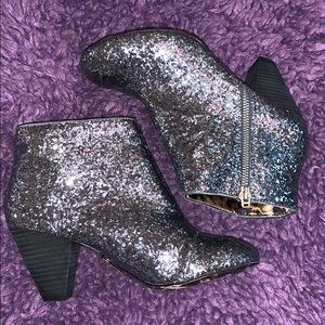 Silver sparkly booties